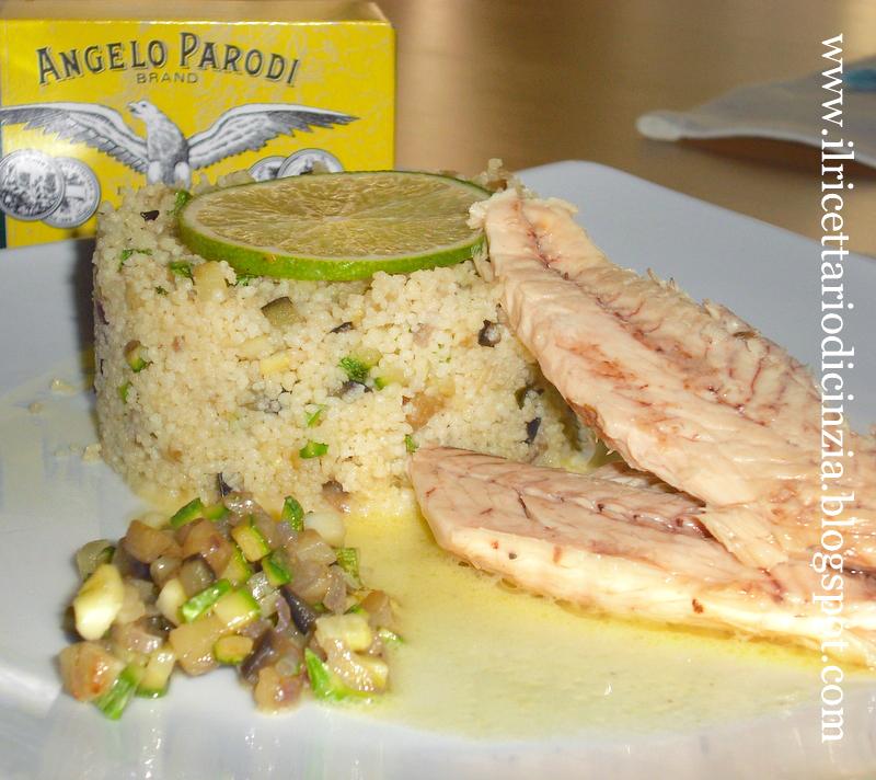 Cous cous con brunoise di zucchine e melanzane e sgombro Angelo Parodi di Cinzia Ziliani