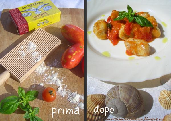 Gnocchi di ricotta e sardine…SCIUE' SCIUE' di Serena, Fragola e Zafferano