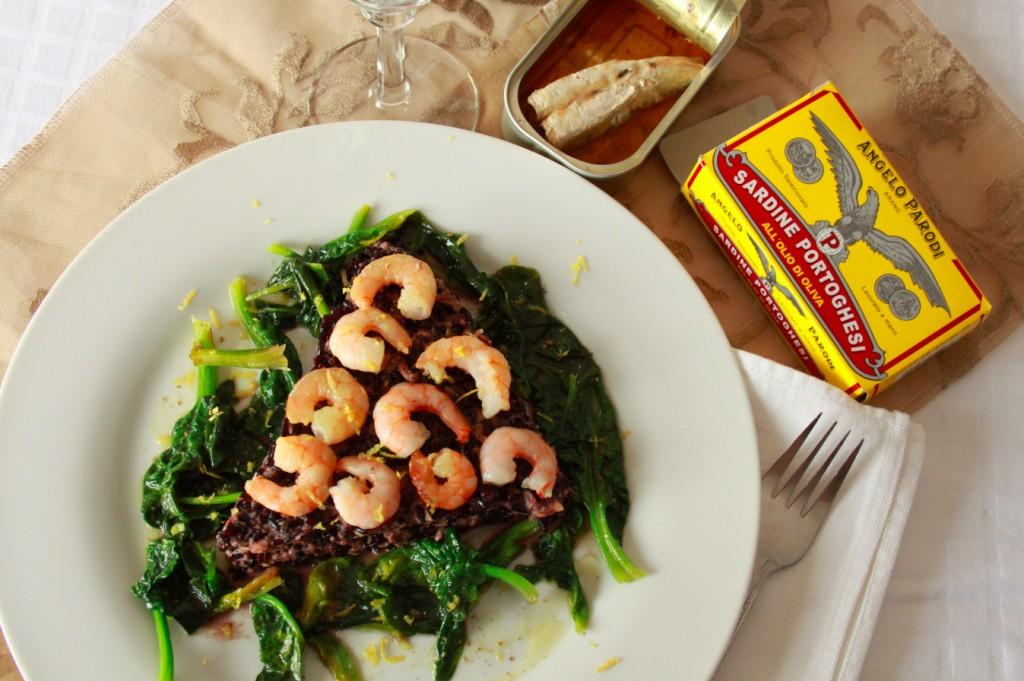 Riso venere con gamberi, spinaci e sardine di Leda, GustosaMente
