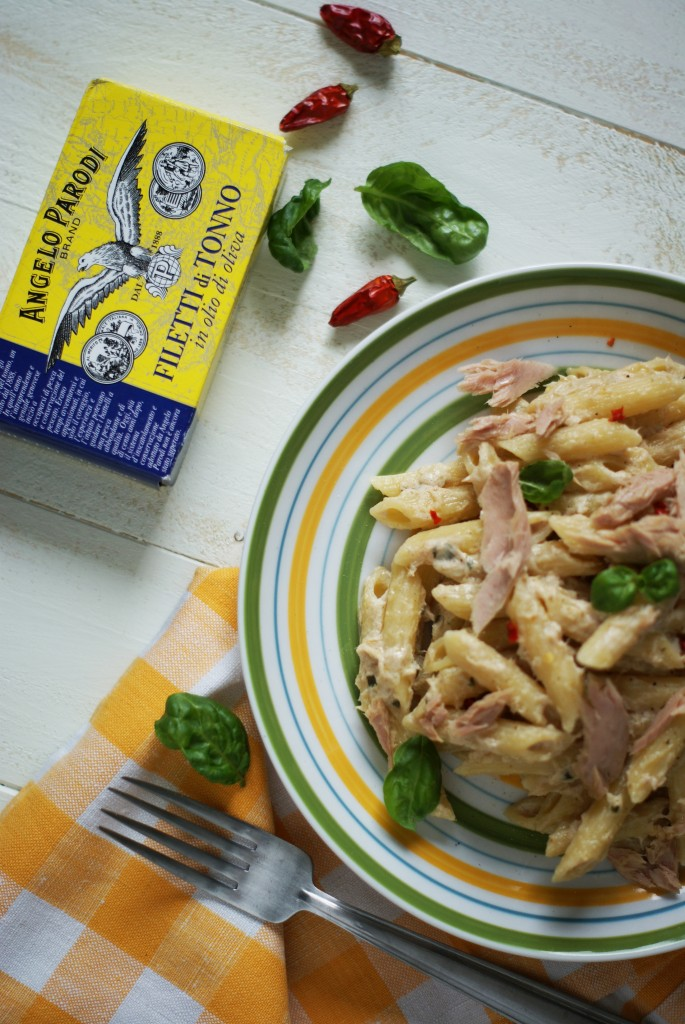 PENNE CON CREMA DI TONNO E BASILICO by Alice, food couture