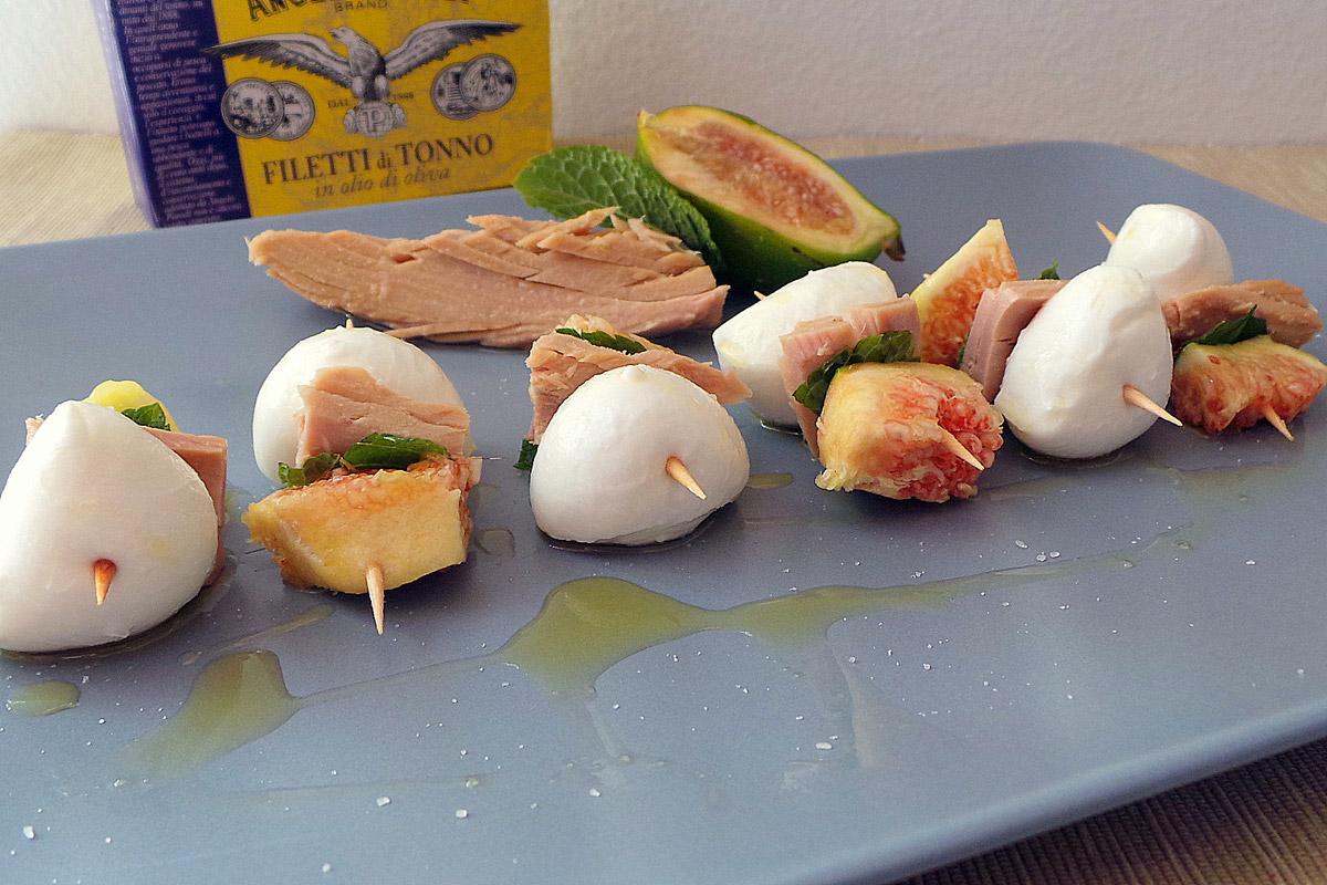 Spiedini di tonno, mozzarella e fichi di Francesca