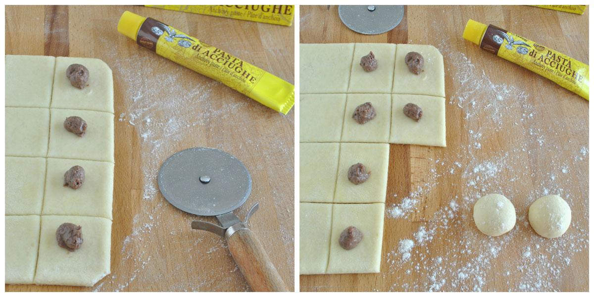Bocconcini alla mozzarella con pasta di acciughe