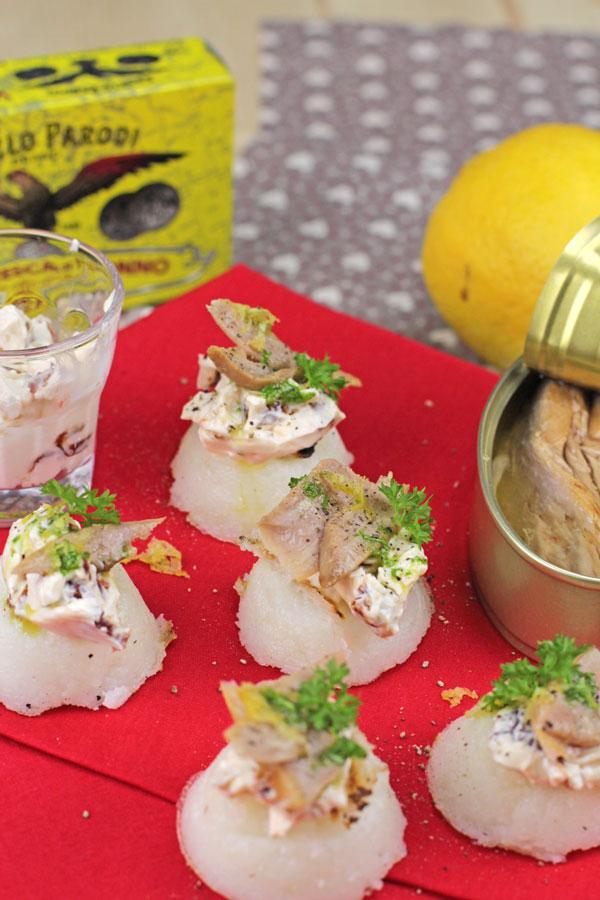 Bocconcini di polenta bianca con ventresca di tonno di Lidia