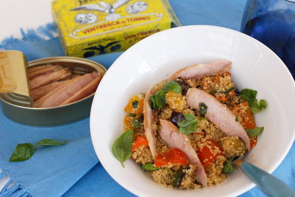 Cous cous di grano con verdure mediterranee e ventresca di tonno di Fedora