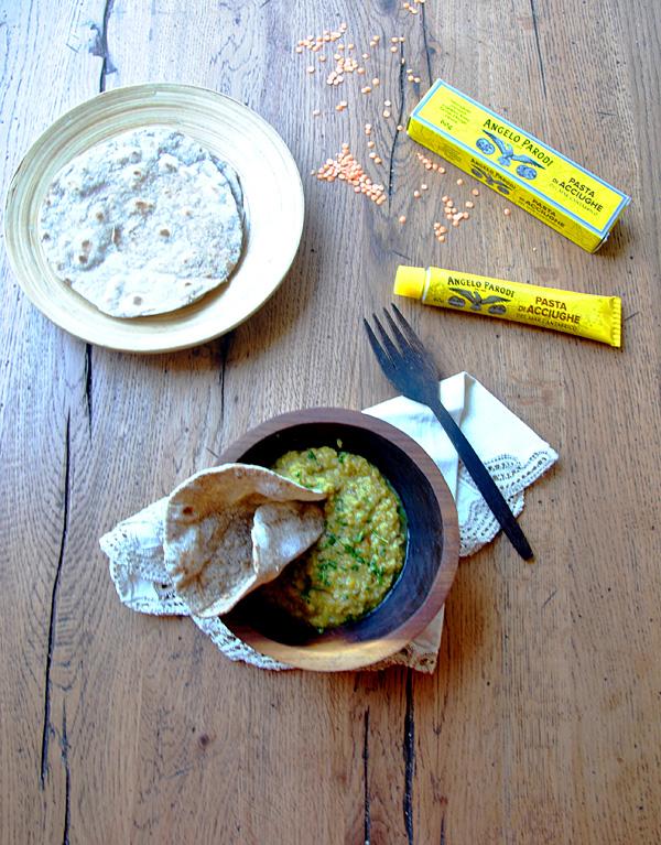 Dhal di lenticchie con chapati all'acciuga di Sabrina
